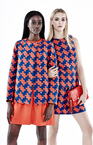models wearing 60s print by DVF