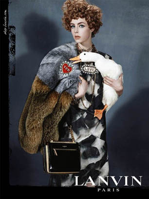 Edie Campbell holds a goose in new Lanvin campaign