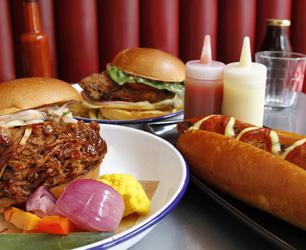 burgers and hotdog from Joe's Southern Kitchen