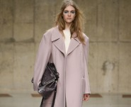 topshop model on catwalk wearing pink coat