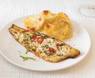 Roasted Sea Bass with Layered Potatoes