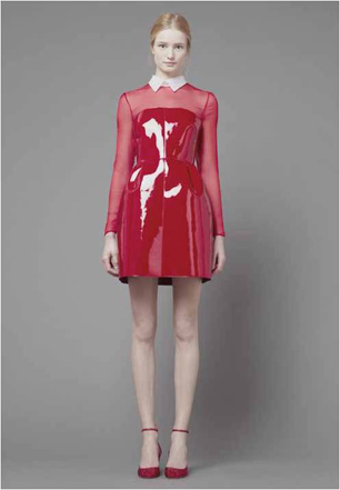 model wears red dress by Valentino Ready-to-Wear