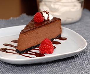 Baked Dark Chocolate and Ginger Cheesecake