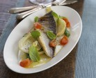 Grilled Sea Bass and mix vegetables Feat