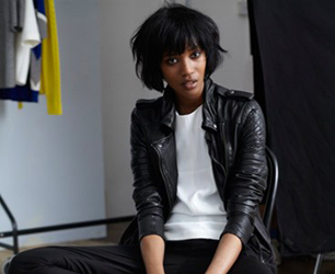 model wearing leather jacket for John Lewis AW13 campaign