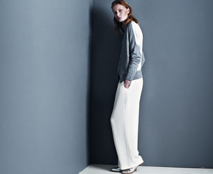model wears top and trousers form Winser London AW13 collection