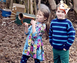 little boy and girl in woods wearing Joules Childrenswear