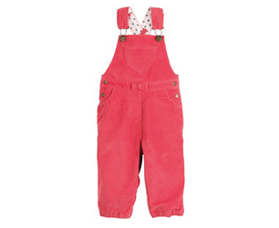Petit Bateau Baby Girl Stretch Corduroy Dungarees in Rubis Red