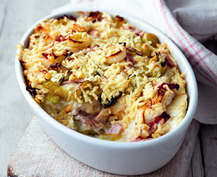 Ham, Leek and Lancashire Bread & Butter Pudding Recipe