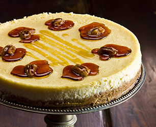 Maple Syrup and Vanilla Cheesecake with Pecan Brittle