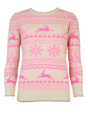 PlayStation® Pink Christmas Jumper This unisex PlayStation® Christmas jumper will bring a pop of colour to your festive fun. The design, which includes the iconic PlayStation® shapes, snowflakes and reindeers is knitted, not printed, and features a crew neckline with ribbed trim.