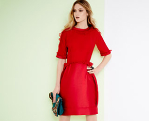 model in red dress and skirt