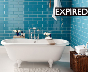 bath with blue tiles