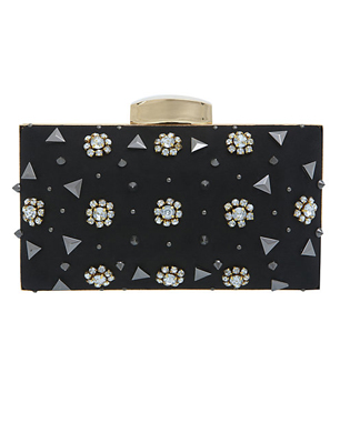 Miss Selfridge Flower and Stud Hardcase Clutch Handbag