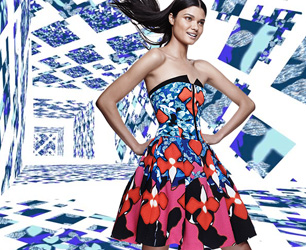 model wears dress by Peter Pilotto for Target