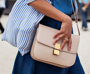street style image of nude celine bag
