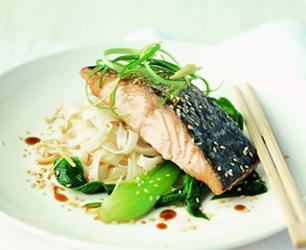 Teriyaki Salmon and Garlic Noodles