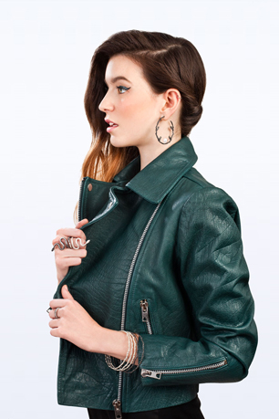 model wearing jewellery from GemAlley and green biker jacket