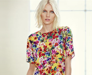 model wears Clashing Floral Prints
