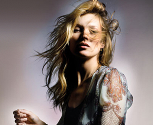 Kate Moss models her Topshop SS14 collettion