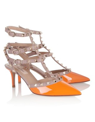 Valentino Rockstud Neon Patent-Leather Pumps