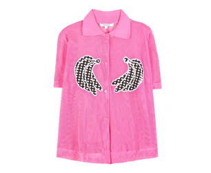 pink shirt with banana embroidery