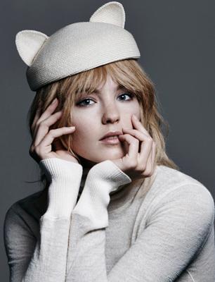 model wears cat ear hat by Eugenia Kim