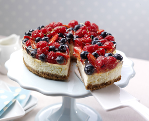 Summer Berry Topped Elderflower Cheesecake