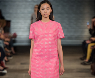 model in pink dress on catwalk