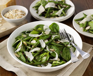 Spinach and Crispy Bean Salad with Toasted Almonds and Shallot Dressing