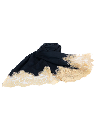 DeQi Design Cashmere and Lace Scarf-7