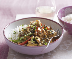 Thai red salmon curry