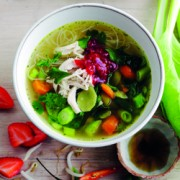 Chicken pho with sweet and sour strawberry sambal