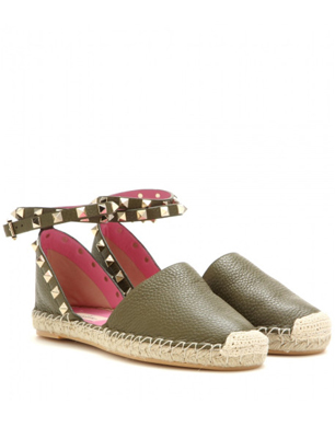 5ade4b7b84d6 Valentino Green Rockstud Double Leather Espadrilles. Lyst
