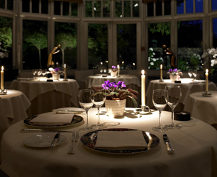 Conservatory dining at night