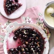 Cherry tart tatin with almonds and vanilla ice cream 2