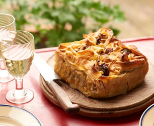 Curried Cauliflower and Aubergine Filo Pie