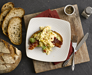 Avocado on Sourdough Toast with Chilli Scrambled Egg & Bacon
