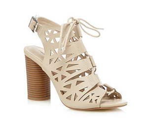 Red Herring Cream cutout lace up high sandals