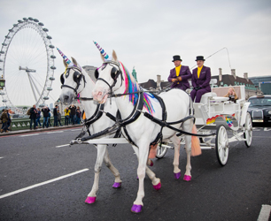 **FREE TO USE FOR SINGLE EDITORIAL PURPOSES AND NOT FOR FURTHER SYNDICATION**Unicorn cabs hit the streets of London as Three and ZTE inject magic into the morning commute to celebrate the launch of the new ZTE Blade 7.Byline John Nguyen/JNVisuals 24/10/2016