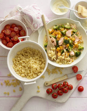 Pasta shells with salmon veggies in a light cheese sauce stylenest annabel karmels new baby led weaning recipe book is filled with 120 quick easy and nutritious recipes essential advice and tips to let your baby take the forumfinder Gallery