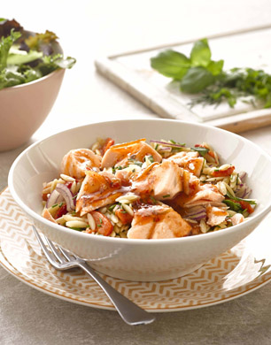Orzo Pasta Salad with Salmon and a Chilli, Lime and Ginger Sauce